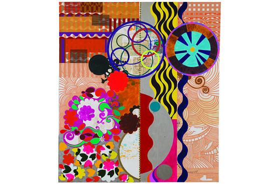 (Fig 1.) Beatriz Milhazes, São Cosme e Damião (Saints Cosmas and Damian), 2014, James Cohan Gallery, New York, The Wall Street Journal, Web 10 October 2015.