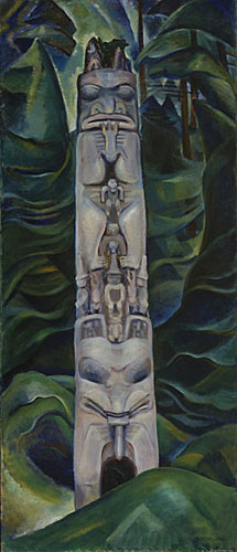 (Fig 4.) Emily Carr. Totem and Forest, 1931, Vancouver Art Gallery, Toronto, Virtual Museum, Web, 3 May 2015.