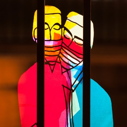 "Dimensions: 20"" x 20""Stencil Light Painting"